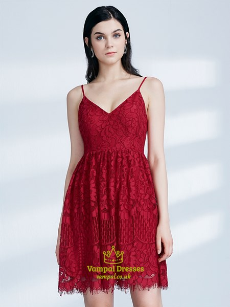 Princess A Line Red Spaghetti Strap Sleeveless Lace Short Prom Dress