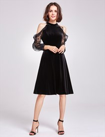 A Line High Neck Trumpet Sleeve Velvet Short Prom Dress With Ruffle