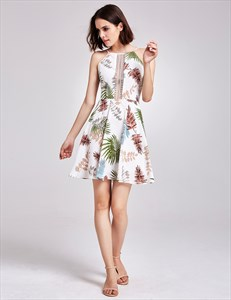 High Neck Sleeveless Scoop Back Pleated Chiffon Floral Print Dress