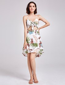 Spaghetti Strap Cut Out Sheath Floral Print Beach Dress With Ruffle