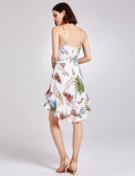 Spaghetti Strap Cut Out Sheath Floral Print Beach Dress With Ruffle