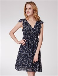 V Neck Flutter Sleeve Ruched Waist V Back Floral Chiffon Short Dress