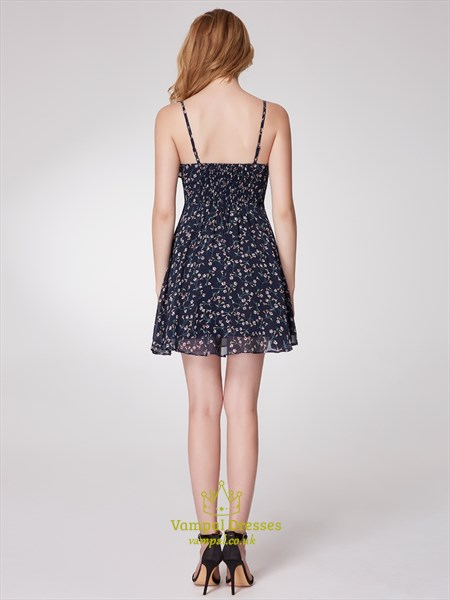 Spaghetti Strap Sleeveless Chiffon Beach Floral Dress With Ruffle