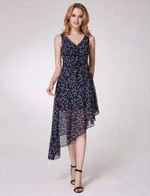 A Line V Neck Asymmetrical Hem Tea Length Floral Chiffon Dress