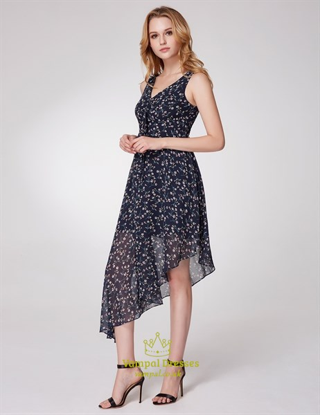 A Line V Neck Asymmetrical Hem Tea Length Floral Chiffon Dress