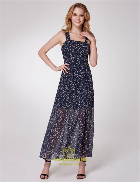 Simple Square Neck Sleeveless Chiffon Floral Maxi Dress With Split
