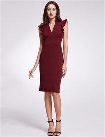V Neck Flutter Sleeve Sheath Knee Length Polyester Short Dresses