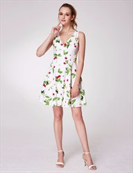 Simple A Line V Neck Scoop Back Floral Print Dress With Bow On Back
