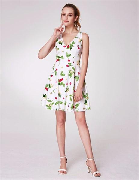Simple A Line V Neck Scoop Back Floral Print Dress With Bow On Back