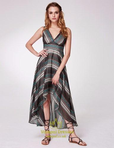A Line V Neck Sleeveless Polyester Floral Print High Low Dress
