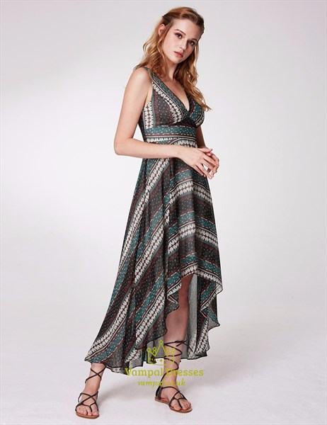A Line V Neck Sleeveless Polyester Floral Print High Low Dress