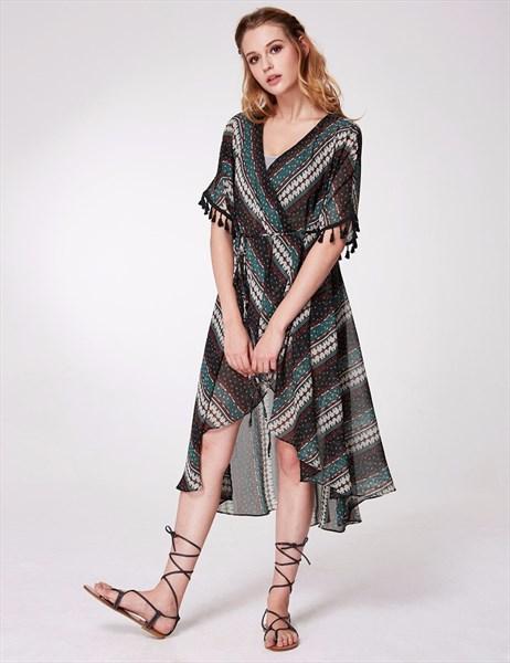 V Neck Short Sleeve Empire Waist Short Floral Wrap Dress With Belt
