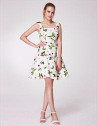 A-Line Square Neck Sleeveless Empire Waist Floral Print Beach Dress