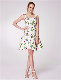A-Line Square Neck Sleeveless Empire Waist Floral Print Beach Dress