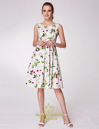 Bateau Neck Sleeveless V Back Pleated Knee Length Floral Dress