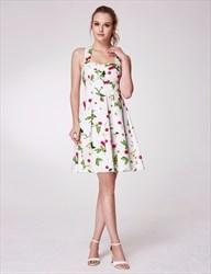 Square Neck Criss Cross Back Pleated Short Floral Print Dress