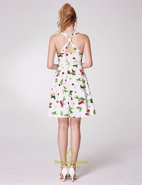 Square Neck Criss Cross Back Pleated Short Floral Print Dress