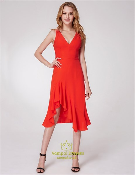 Orange V Neck V Back Asymmetrical Hem Ruffle Chiffon Short Dress