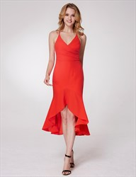 Spaghetti Strap Sleeveless Criss Cross Back Ruched Dress With Ruffle