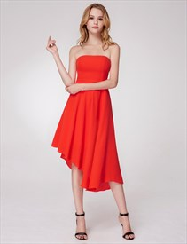 A Line Strapless Sleeveless Asymmetrical Hem Pleated Chiffon Dress