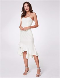 White Strapless Asymmetrical Ruffle Hem Sheath Dress With Sequins