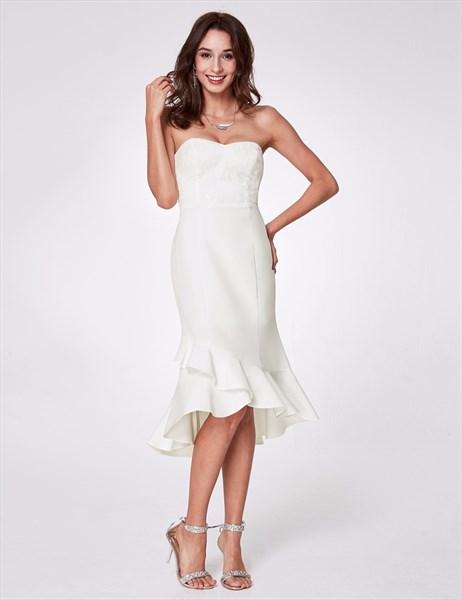 White Strapless Asymmetrical Ruffle Hem Sheath Dress With Sequins