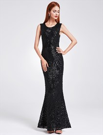 Jewel Neck Sleeveless Sheath Sequin Embellished Prom Dress With Split