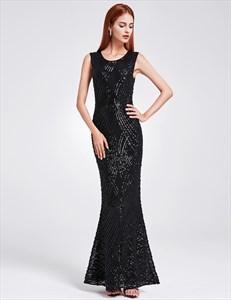 Jewel Neck Sleeveless Sheath Sequin Embellished Prom Dress With Split