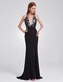 Halter Neck Open Back Sequin Embellished Sheath Prom Dress With Train