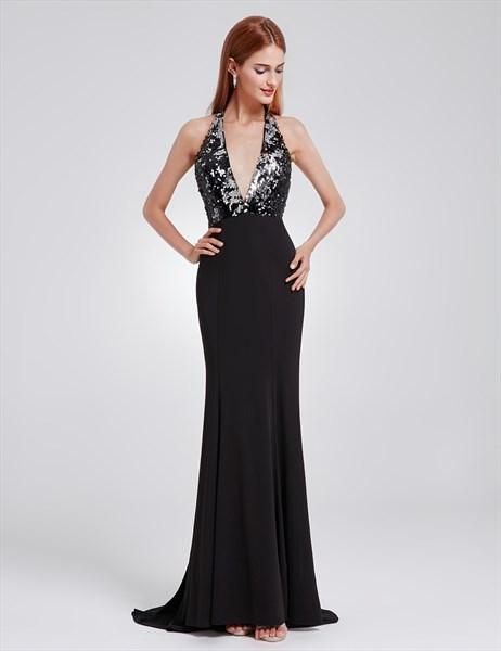 Halter Neck Open Back Sequin Embellished Sheath Prom Dress With Train