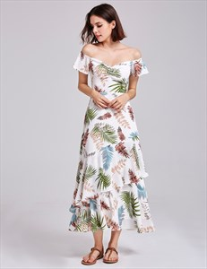 Off The Shoulder Short Sleeve Ruched Tiered Floral Beach Dress