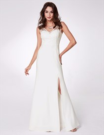 White V Neck Sleeveless Applique Floor Length Prom Dress With Split
