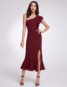 One Shoulder Flutter Sleeve mermaid Dress With Ruffles And Slits