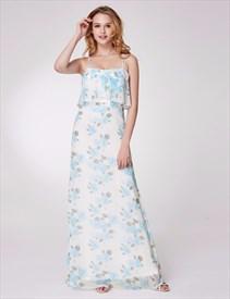 A Line Spaghetti Strap Sleeveless Floral Print Chiffon Maxi Dress