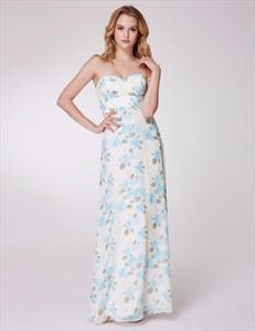 Sweetheart Neckline Ruched Empire Waist Floor Length Floral Dress