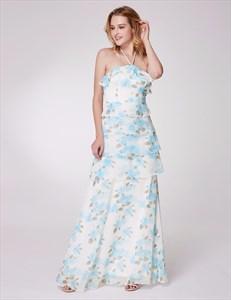 Halter Neck Sleeveless Tiered Ruffle Chiffon Floral Print Maxi Dress