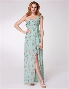 A Line One Shoulder Sleeveless Ruffle Neck Floral Dress With Split