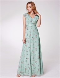 V Neck Sleeveless Ruffle Neck Floor Length Chiffon Floral Dress