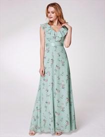 V Neck Sleeveless Ruffle Neck Floor Length Chiffon Floral Dress