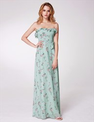 Strapless Sleeveless Ruffle Neck Chiffon Floral Maxi Dress With Belt
