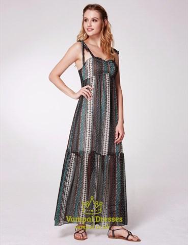 Simple A-Line Spaghetti Strap Ruched Empire Waist Floral Print Dress