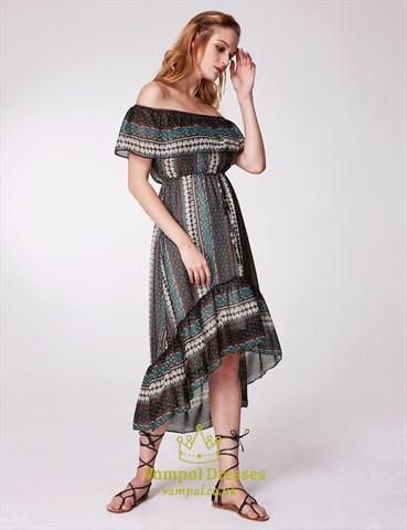 Off The Shoulder Cap Sleeve Floral Print High Low Dress With Belt