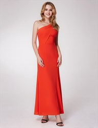 Orange One Shoulder Ruched Empire Waist Sheath Chiffon Prom Dress