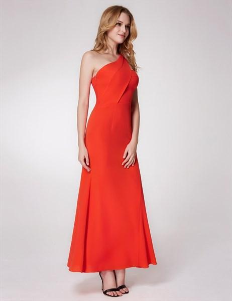 Orange One Shoulder Ruched Empire Waist Sheath Chiffon Prom Dress