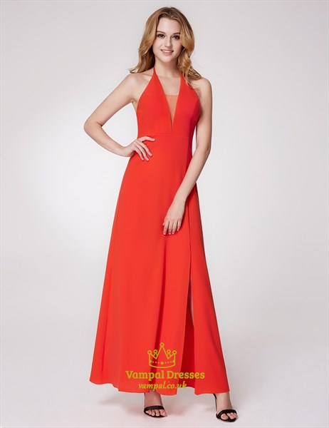 Halter Neck Sleeveless Floor Length Chiffon Prom Dress With Split