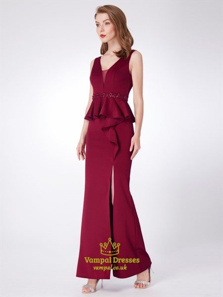Burgundy V Neck Sheath Beaded Prom Dress With Ruffles And Split