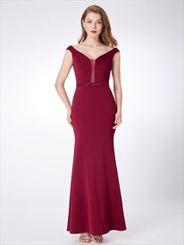 Simple V Neck Cap Sleeve Polyester Prom Dress With Beaded Waist