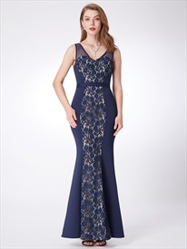 Navy V Neck Sleeveless Floor Length Sheath Prom Dress With Lace