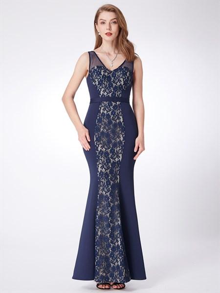 Navy V Neck Sleeveless Floor Length Sheath Prom Dress With Lace