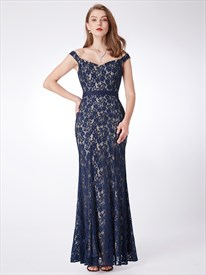 Elegant Off The Shoulder Cap Sleeve Sheath Lace Long Prom Dress